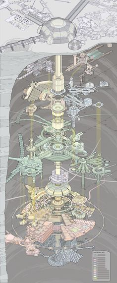 Amazing cutaway diagram of a mostly-underground city by Kirsten Zirngibl. With some modifications it should make for a great cyberpunk dungeon. Architecture Drawings, Futuristic Architecture, Architecture Blueprints, Futuristic City, Amazing Architecture, Art Science Fiction, Underground Cities, Fantasy Map, Art Design