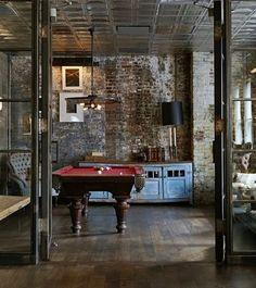 Industrial, urban chic, NY loft, pool/game room.