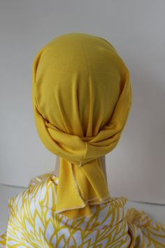Yellow Do Rag Chemo Hat Cancer Cap Cotton Knit by ThePinkScarab