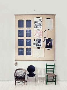 Calendar/mood board and chairs