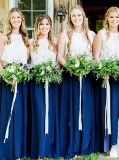 Long bridesmaid dresses with lace top and tulle skirt. Dark green sleeveless tulle bridesmaid dresses fitted plus size. This dress can be tailored in any color and size. Two Piece Bridesmaid Dresses, Plum Bridesmaid, Bridesmaid Separates, Wedding Dresses, Bridesmaid Colours, Bridesmaids, Party Dresses, Dresser, Tulle