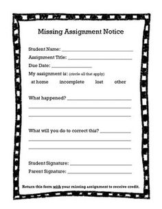 Free Missing Assignment Alert Note For Parents From Therealteachr