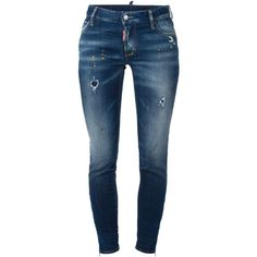 Dsquared2 Medium Waist Super Skinny Jeans ($473) ❤ liked on Polyvore featuring jeans, bottoms, blue, destroyed jeans, skinny fit jeans, distressed jeans, blue jeans and torn jeans
