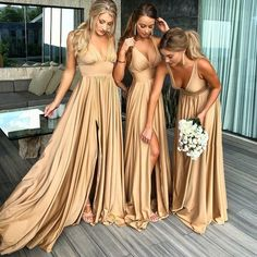 Good Buy Robe demoiselle d'honneur Sexy Slit Champagne Gold Bridesmaid Dresses Long 2019 Chiffon V Neck Formal Prom Party Gown Champagne Bridesmaid Dresses, Gold Bridesmaids, Cheap Bridesmaid Dresses, Wedding Party Dresses, Formal Wedding, Wedding Beach, Prom Party, Formal Prom, Wedding Groom