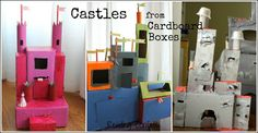 Make Your Own Cardboard Castle {Recycling} ~ Reading Confetti Cardboard Box Crafts, Cardboard Castle, Cardboard Crafts, Craft Activities For Kids, Preschool Crafts, Diy For Kids, Crafts For Kids, Castle Crafts, Learning Through Play