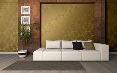 Wallpaper trends 2016 - A. Tapete Gold, Sofa, Couch, 2016 Trends, Love Wallpaper, Furniture, Instagram, Home Decor, Retro Design