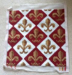 Completed needlepoint cushion cover Fleur de lyse design. | eBay