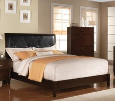 ACME Tyler California King Bed (Padded HB) Black PU & Cappuccino - 19534CK