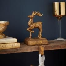 Gold Reindeer Stocking Hanger