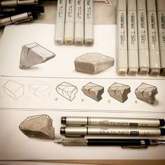 """✏ 6 steps """"Dofus style stone"""" fast tutorial ✏ Draw a basic cube. Cut the cube edges. Draw outlines (multiliner sp and inline with some skratches (multiliner Color the faces (greys & Dirty the stone faces w Copic Marker Art, Copic Art, Copic Sketch, Sketch Markers, Copic Drawings, Art Drawings, Drawing Faces, Drawing Drawing, Marker Drawings"""