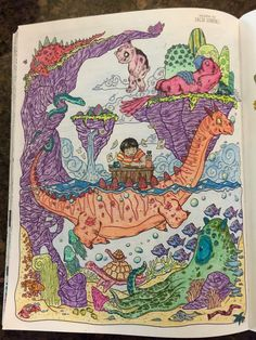 Doodlers Anonymous Epic Coloring Book Done With Prismacolor Pencils