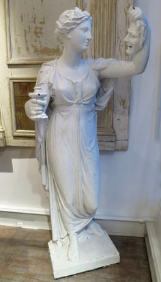 "19th century plaster figure of ""Muse de Comedie"" www.appleyhoare.com"