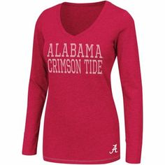 Alabama Crimson Tide Hybrid Ladies Long Sleeve V-Neck T-Shirt - Crimson -$25.95
