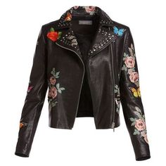 Neiman Marcus Painted Floral Leather Jacket w/ Embroidered Patches ❤ liked on Polyvore featuring outerwear, jackets, rider jacket, floral-print bomber jackets, leather motorcycle jacket, real leather jackets and leather jackets