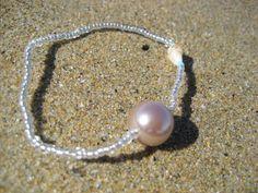 UDEWA - KAI- Shell, Champagne Glass Pearl, Clear Beads Stretch Code Bracelet