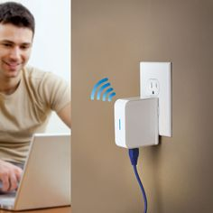 The Portable WiFi Signal Booster — This is the portable WiFi signal booster that extends the range and improves the signal strength of a wireless network. The device simply plugs into an AC outlet, connects to a wireless network, and rebroadcasts the signal to provide a faster, more reliable WiFi connection at a hotel or airport. It provides WEP, WPA-PSK, and WPA2-PSK security for optimal privacy. | Hammacher Schlemmer