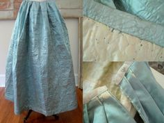 Robe a l'Anglaise & Quilted Petticoat c.1780 Antique Silk Brocade from stonehouseantiques on Ruby Lane