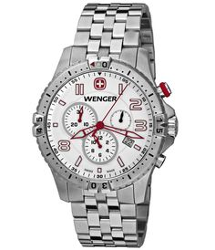 Wenger 77059 Men's Stainless Steel White Dial Chronograph Watch,