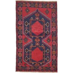 Shop for ecarpetgallery Hand-Knotted Kazak Blue, Red Wool Rug (3'8 x 6'3). Get free shipping at Overstock.com - Your Online Home Decor Outlet Store! Get 5% in rewards with Club O!