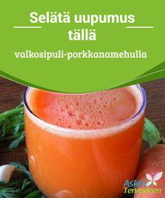 Selätä uupumus tällä valkosipuli-porkkanamehulla  Sekoittamalla porkkanaa ja valkosipulia saamme runsaasti ravintoaineita. Tämä mehu vahvistaa immuunijärjestelmää ja taistelee väsymystä vastaan.