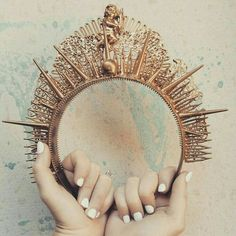 A crown made of spikes and studs is menacing and can give my outfit a look that is meant to be feared. Circlet, Tiaras And Crowns, Headgear, Flower Crown, Hair Pieces, The Little Mermaid, Headbands, Fancy, Cosplay