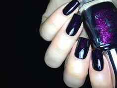 "Fashion Polish: A England ""The Gothic Beauties"" Collection  Ophelia is a luxurious warm purple that illuminates the darkest black base."