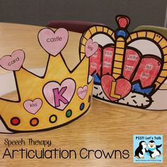 Speech Therapy Queen and King of Hearts - Valentine crowns for every kid on your caseload! Includes blank crown to personalize!