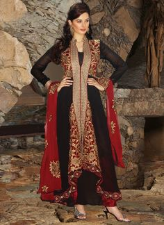 Charming Black Georgette New Anarkali Salwar Kameez