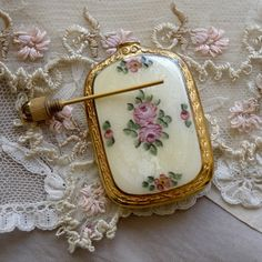 Antique guilloché enamel French perfume bottle.Oh my gosh...I have one just like this in blue that Sallie gave me...she had it for years and gave it to me...I love it!!! Never seen one  before.