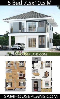 Sims House Plans, Duplex House Plans, House Layout Plans, Craftsman House Plans, Dream House Plans, House Layouts, 5 Bedroom House Plans, Two Story House Design, 2 Storey House Design