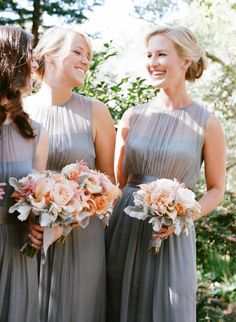 bridesmaids in grey | via: style me pretty::