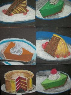 4th  grade art lesson produced these Wayne Thiebaud inspired Dessert paintings.  Kudos to the students.