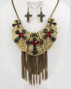 Crosses Necklace Set Burnished Gold Hammered Chains Rhinestones Necklace Set #FashionJewelry