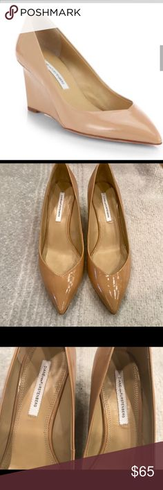 "Diane Von Furstenberg Park patent wedge pump Beautiful and comfortable Diane Von Furstenberg Park Pointy Wedge Pump in cashmere (nude/tan) patent saffiano leather.  Size 11 - true to size.  2 3/4"" sculpted, covered wedge heel, pointed toe, leather lining and sole.  These are in pre owned, very good condition.  Please see all pics.  A few little black marks on outside of right shoe.  Bought at Neimans for $298+tax.  Will ship in original box. Diane Von Furstenberg Shoes Heels"