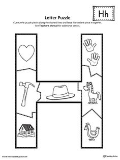 Letter H Puzzle Printable Worksheet.The Letter H Puzzle is perfect for helping students practice recognizing the shape of the letter H, and it's beginning sound, along with developing fine-motor skills. Letter H Activities For Preschool, Preschool Decor, Preschool Bulletin Boards, Preschool Curriculum, Preschool Worksheets, Numbers Preschool, Homeschool, Letter H Crafts, Letter H Worksheets