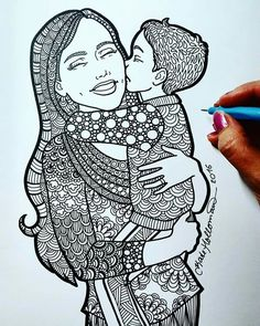 """A coloring page from a Motherhood and Family themed  """"Treasure of the Heart"""" adult coloring book by Kate Holloman is available on Amazon!   https://www.amazon.com/gp/aw/d/1544753705/ref=mp_s_a_1_1?ie=UTF8&qid=1508446058&sr=8-1&pi=AC_SX236_SY340_FMwebp_QL65&keywords=kate+holloman"""