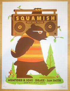 2015 Mumford & Sons - Squamish Festival Silkscreen Concert Poster by Dan Stiles