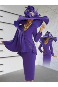 Versatile High Fashion Ladies Church Suit by Donna Vinci in Purple for the Holidays 11043 - Church Attire, Church Outfits, Church Clothes, Church Dresses, Women Church Suits, Suits For Women, Diana, Church Fashion, Sunday Dress