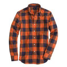 J.Crew Secret Wash Shirt in Pumpkin Gingham