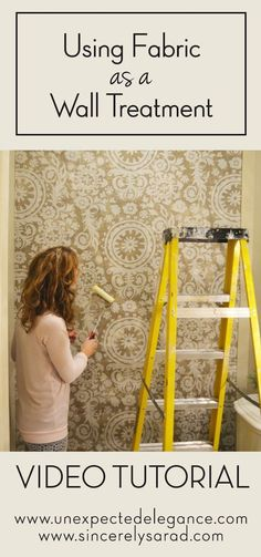 "Are you a renter or homeowner who loves the look of wallpaper but doesn't want something permanent? Check out this great tutorial for using starched fabric as a wall treatment! See just how easy it is to hang a ""wallpaper"" that won't damage your walls and looks amazing!"
