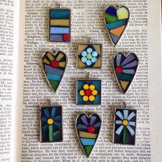 Sweet little mosaic pendants!                                                                                                                                                      More
