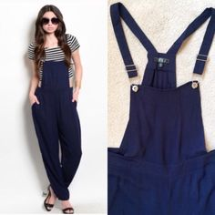 Cool Girl Navy Blue Overalls These incredibly cool overalls are a must have for spring! Pair them with crop tops, bralettes, leotards....the possibilities are endless!                   ⚜www.lovelionessie.com⚜  Please do not buy this listing! Comment below  and I'll create a separate listing for you :)   100% Rayon   Ask about bundle discounts!   S: 3-5  M: 7-9  L: 11-13  ❌No trades, no PayPal, no holds Instagram: @lovelionessie ⚜www.lovelionessie.com⚜ Pants Jumpsuits & Rompers