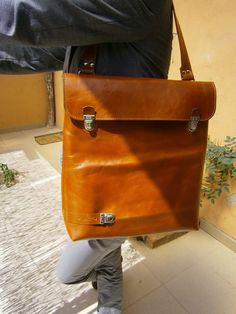 Francesca - plus-one Genuine Leather Tote bag, Laptop Unisex Bag,  Vertical Satchel, Handmade Leather Bag, Leather Office Bag, Made to order...