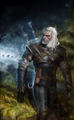 Geralt of Rivia The Witcher Witcher 3 Wild Hunt art The Witcher Books, The Witcher Game, The Witcher Wild Hunt, Witcher 3 Geralt, Witcher Art, Ciri, Medieval Fantasy, Dark Fantasy, Fantasy Art
