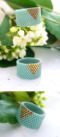 Mint Ring Beaded Band with Gold Triangle by JeannieRichard on Etsy, $30.00