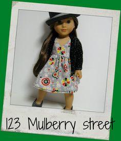"American Girl Doll Clothes - Back to School Greys dress cardigan fit 18"" dolls"