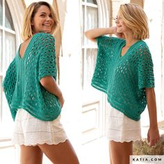 pattern knit crochet woman top spring summer katia 6122 9 g Pull Crochet, Knit Crochet, Knit Basket, Crochet Woman, Chain Stitch, Long Sweaters, Crochet Clothes, Pulls, Crochet Projects