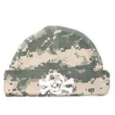Crazy Baby Clothing White Scribble Skull Baby Beanie in Color Digital Camo Crazy Baby Clothing