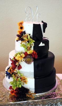 #half bride #half groom #fall wedding cake