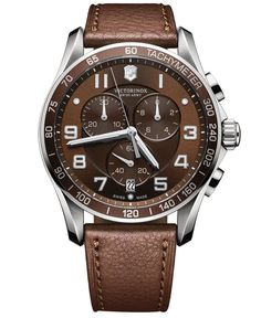 Victorinox Swiss Army Men's Chronograph Classic Xls Brown Leather Strap Watch 45mm 241653 http://www.thesterlingsilver.com/product/ck-mens-watch-xl-analogue-quartz-stainless-steel-k4d21141/